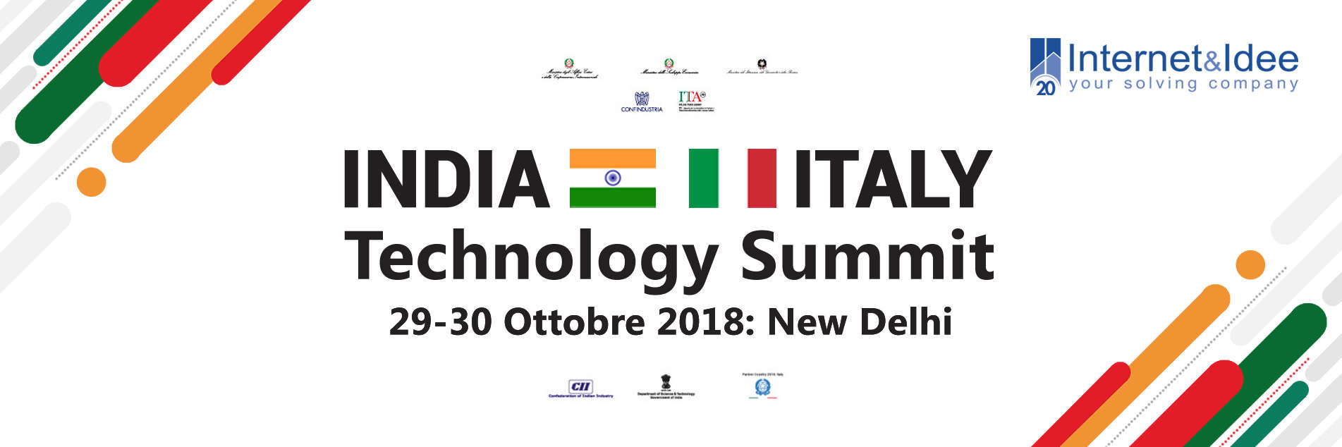 Internet & Idee parteciperà all'India-Italy Technology Summit - New Delhi 29-30 ottobre 2018